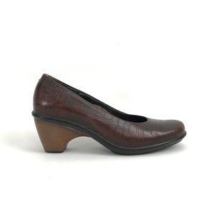 Dansko Brown Embossed Leather Remy Heels Size 9